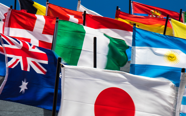 Translate business documents with Microsoft Translator: A selection of flags from different countries around the world