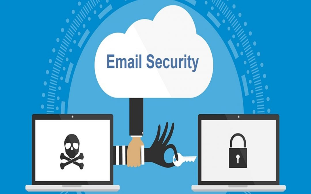 Email security is for life, not just for Christmas: An illustrated hand intercepts the hand of a criminal trying to open a lock on a laptop.