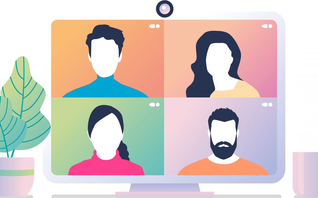 four avatars on a group video call